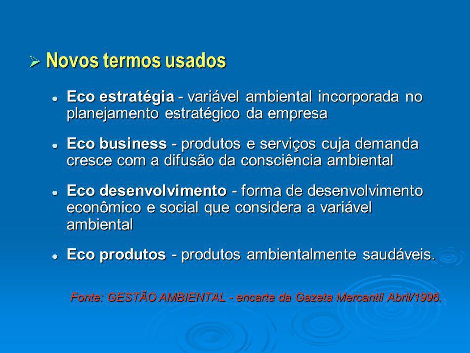 Novos termos usados Eco estratégia - variável ambiental incorporada no planejamento estratégico da empresa.