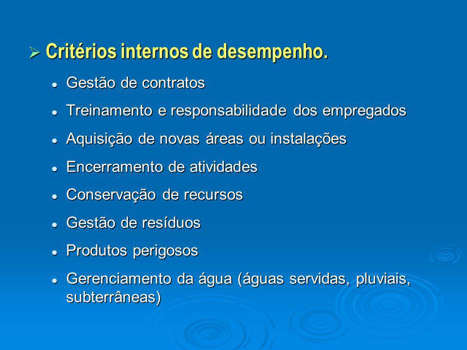 Critérios internos de desempenho.