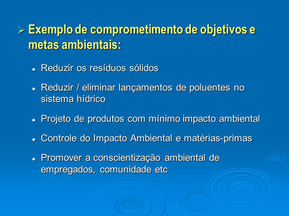 Exemplo de comprometimento de objetivos e metas ambientais: