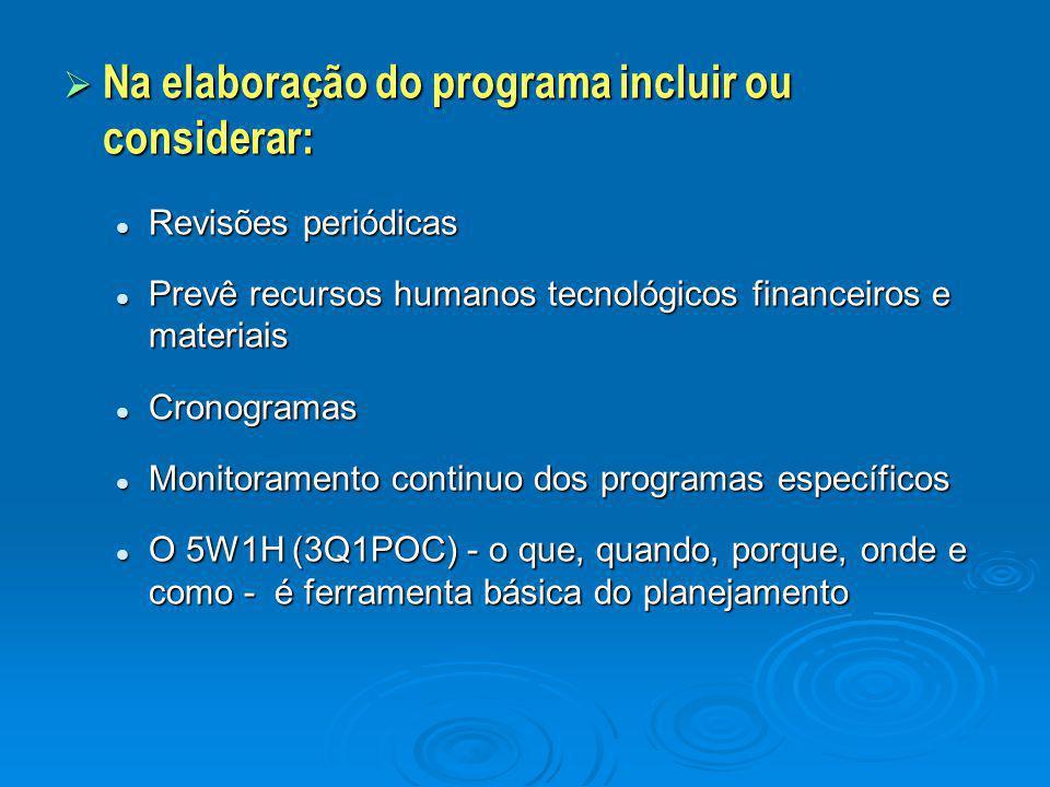 Na elaboração do programa incluir ou considerar: