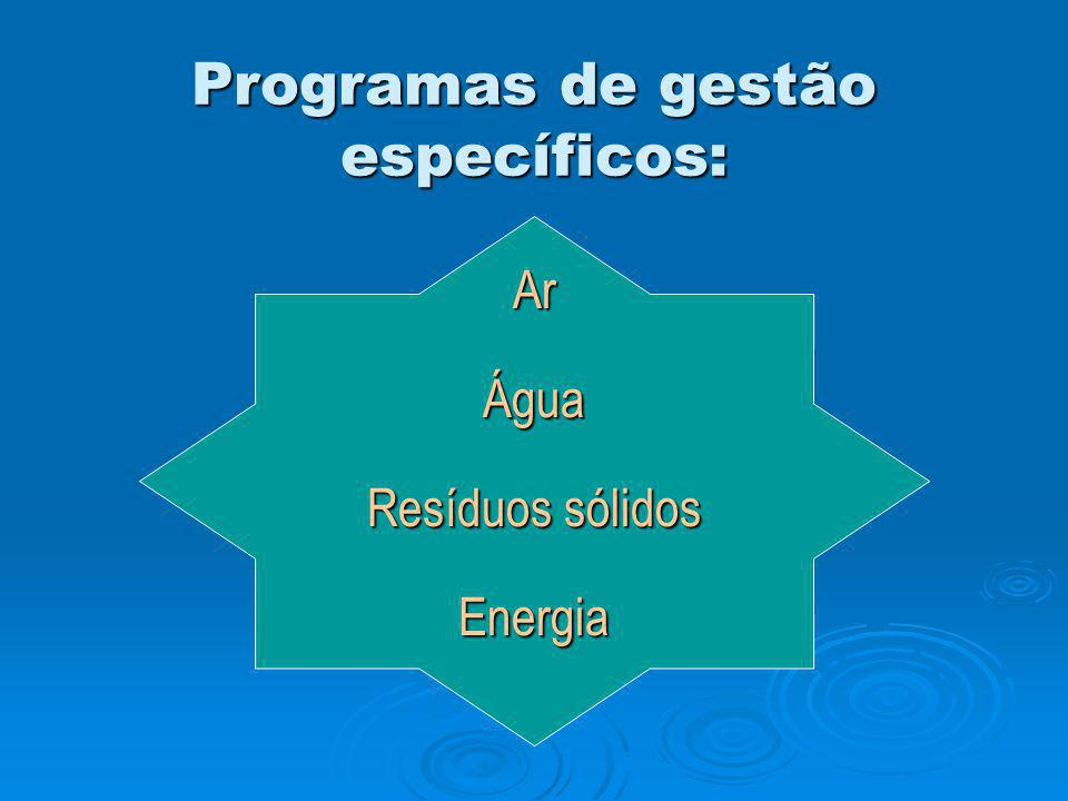 Programas de gestão específicos: