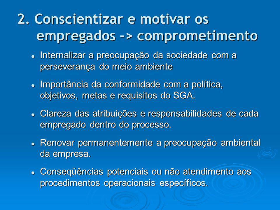 2. Conscientizar e motivar os empregados -> comprometimento