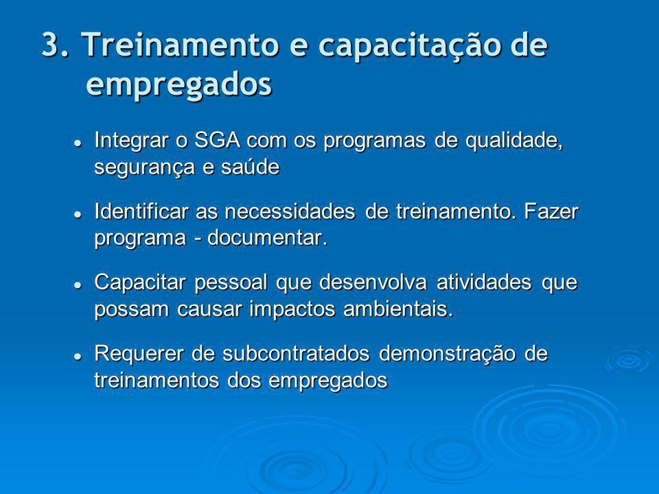 3. Treinamento e capacitação de empregados