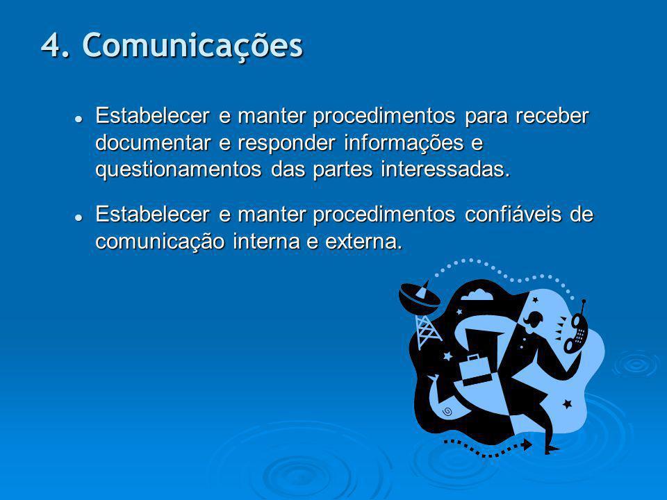 4. Comunicações Estabelecer e manter procedimentos para receber documentar e responder informações e questionamentos das partes interessadas.