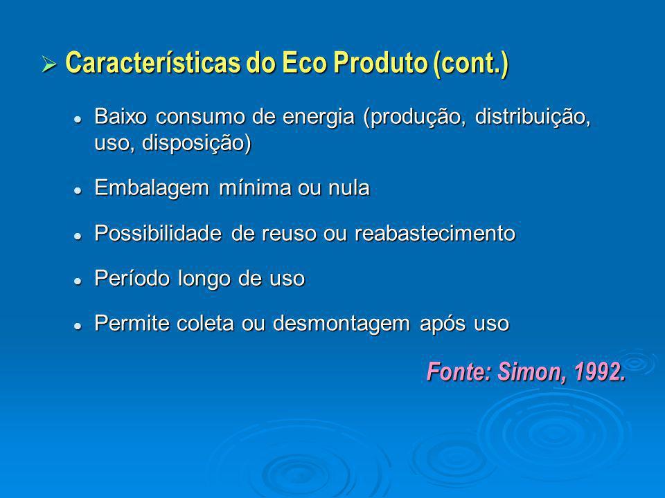 Características do Eco Produto (cont.)