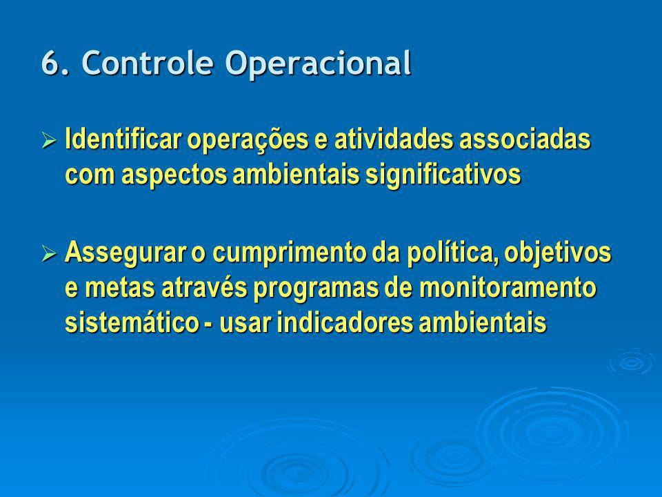 6. Controle Operacional Identificar operações e atividades associadas com aspectos ambientais significativos.