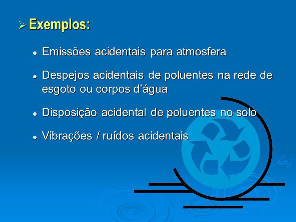Exemplos: Emissões acidentais para atmosfera