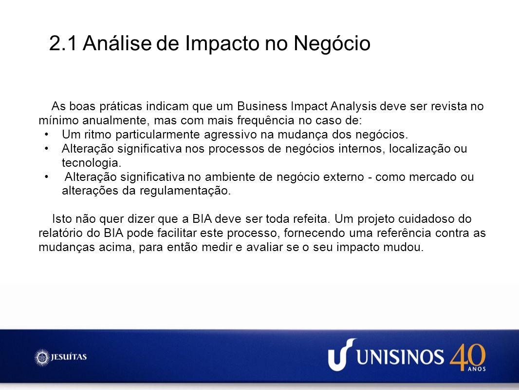 2.1 Análise de Impacto no Negócio