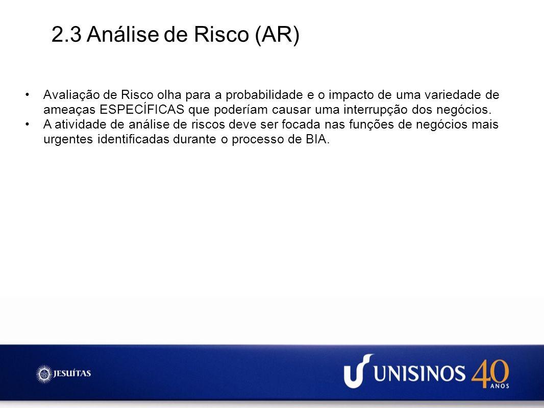 2.3 Análise de Risco (AR)