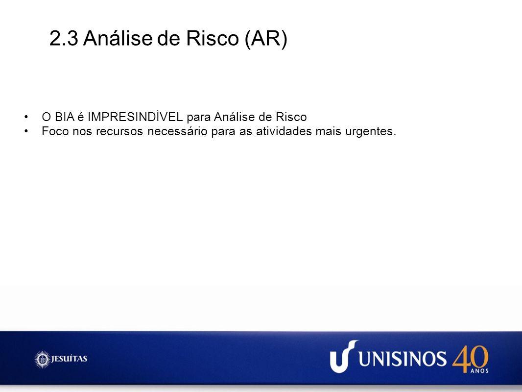 2.3 Análise de Risco (AR) O BIA é IMPRESINDÍVEL para Análise de Risco