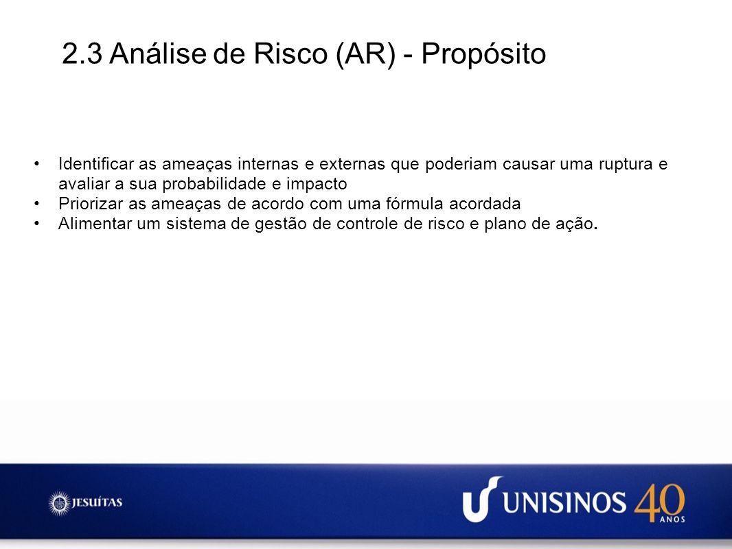2.3 Análise de Risco (AR) - Propósito