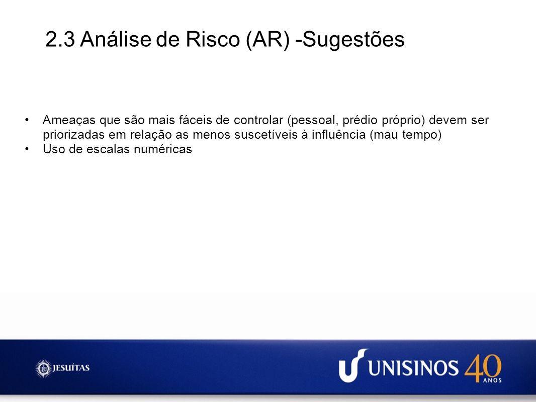 2.3 Análise de Risco (AR) -Sugestões