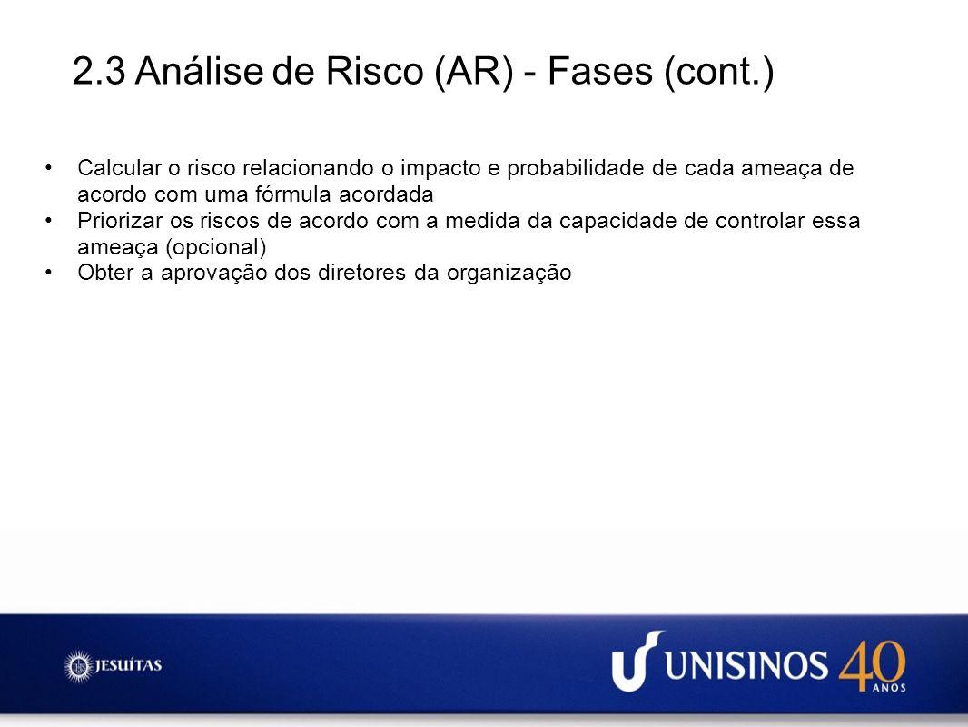 2.3 Análise de Risco (AR) - Fases (cont.)