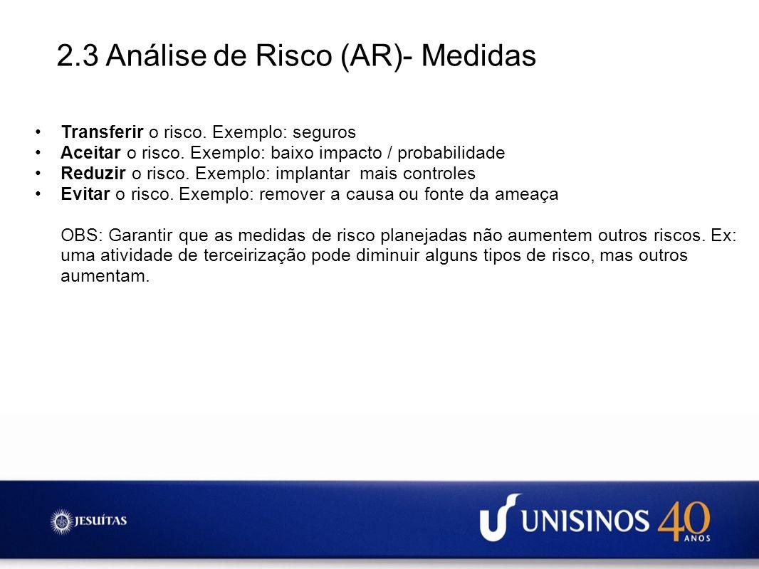 2.3 Análise de Risco (AR)- Medidas