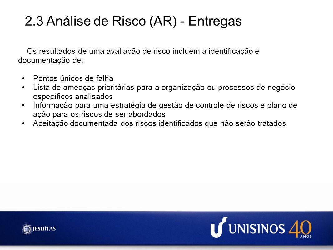 2.3 Análise de Risco (AR) - Entregas