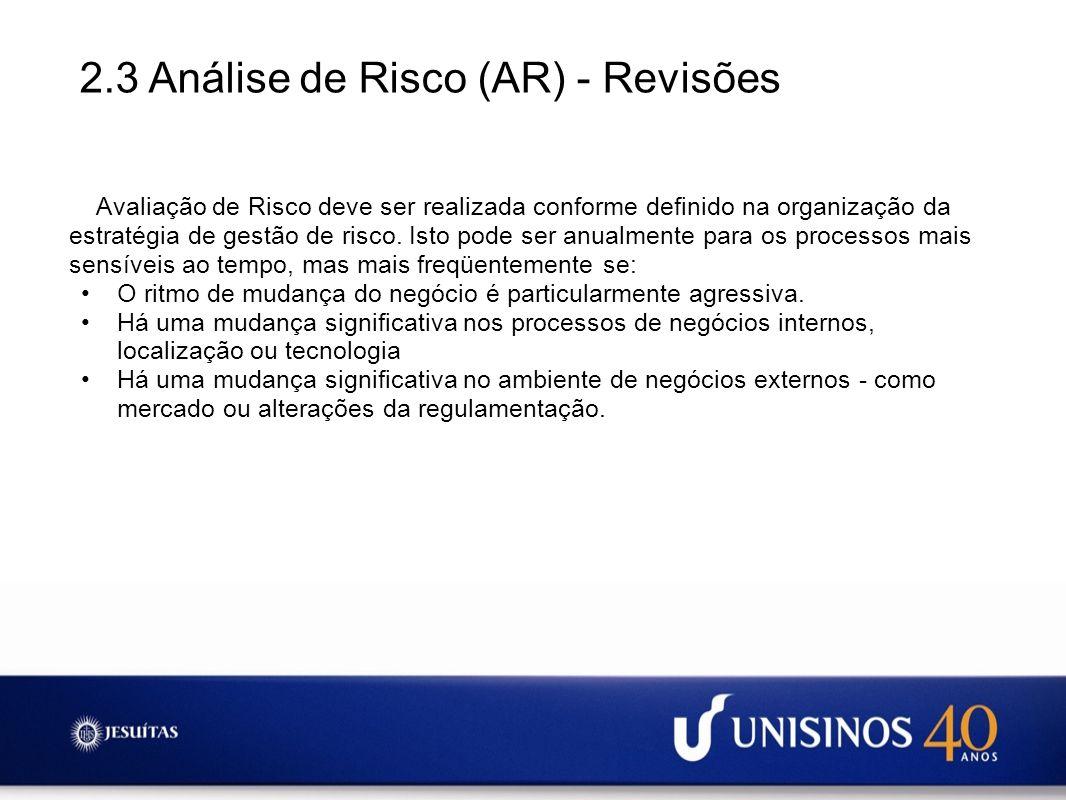 2.3 Análise de Risco (AR) - Revisões