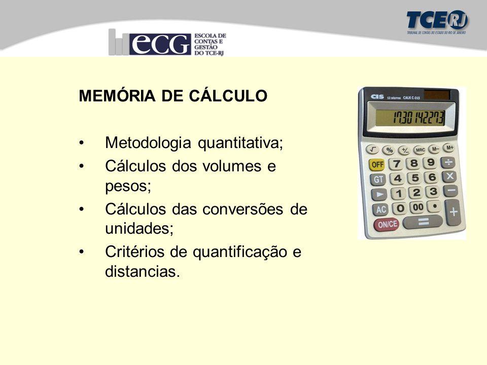 MEMÓRIA DE CÁLCULO Metodologia quantitativa; Cálculos dos volumes e pesos; Cálculos das conversões de unidades;