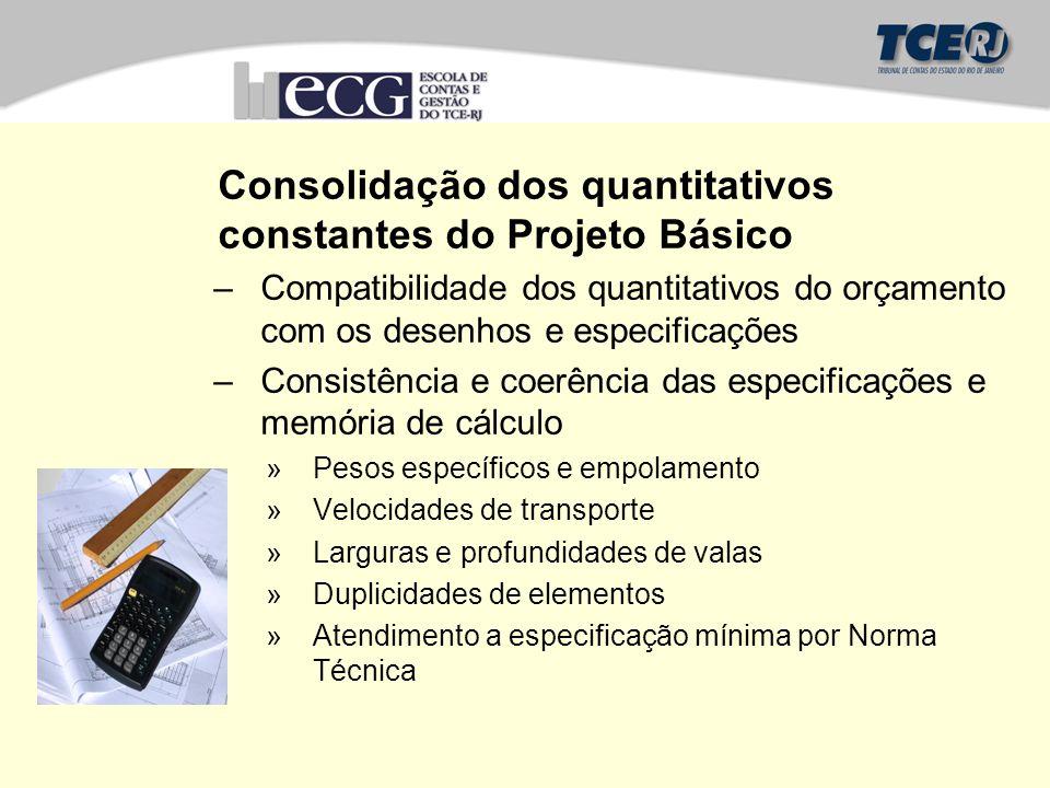 Consolidação dos quantitativos constantes do Projeto Básico