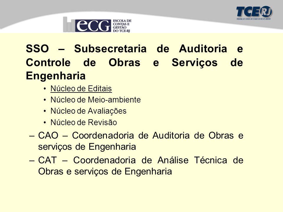 SSO – Subsecretaria de Auditoria e Controle de Obras e Serviços de Engenharia