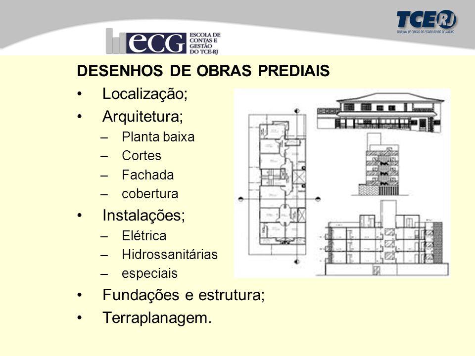 DESENHOS DE OBRAS PREDIAIS Localização; Arquitetura;