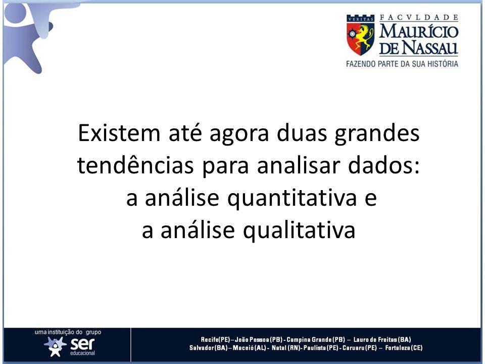 Existem até agora duas grandes tendências para analisar dados: a análise quantitativa e a análise qualitativa