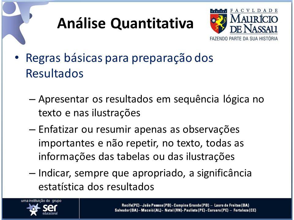 Análise Quantitativa Regras básicas para preparação dos Resultados