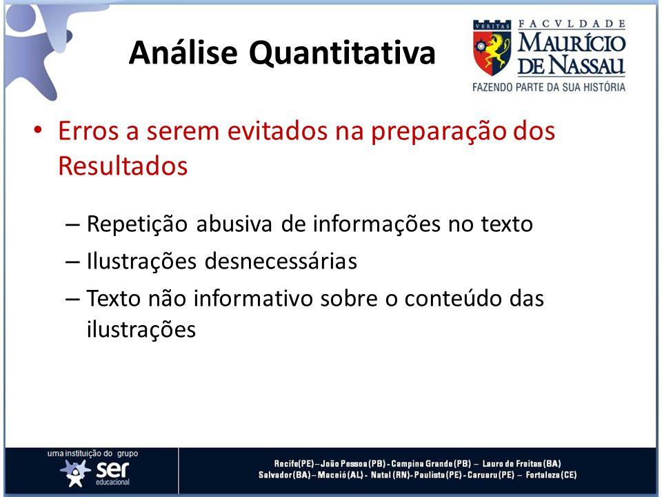Análise Quantitativa Erros a serem evitados na preparação dos Resultados. Repetição abusiva de informações no texto.