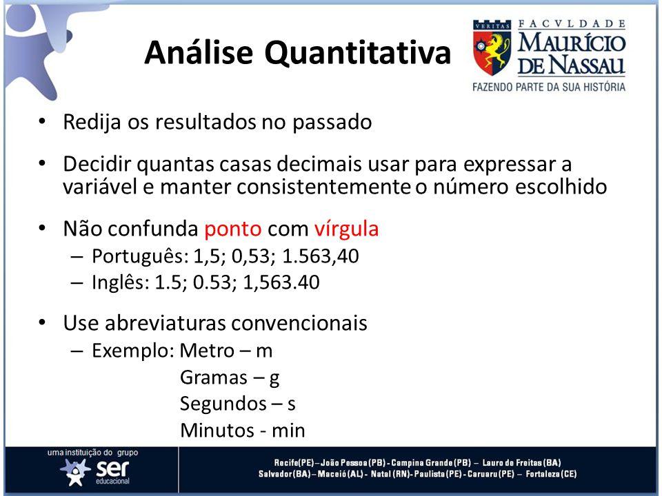 Análise Quantitativa Redija os resultados no passado