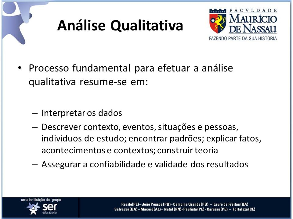 Análise Qualitativa Processo fundamental para efetuar a análise qualitativa resume-se em: Interpretar os dados.