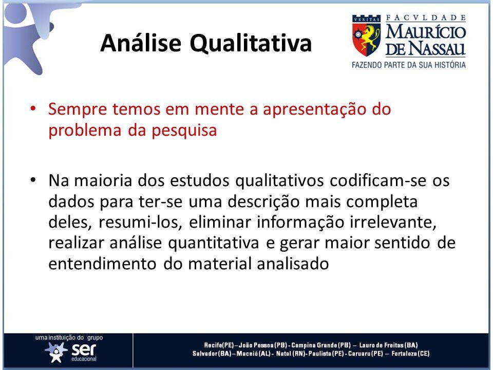 Análise Qualitativa Sempre temos em mente a apresentação do problema da pesquisa.
