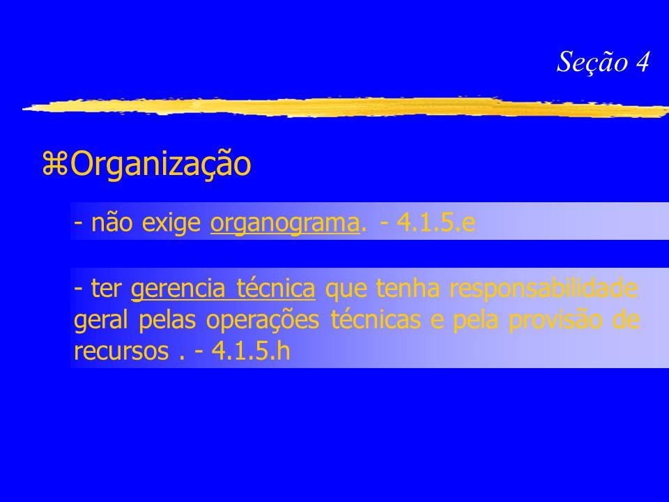 Organização Seção 4 - não exige organograma. - 4.1.5.e