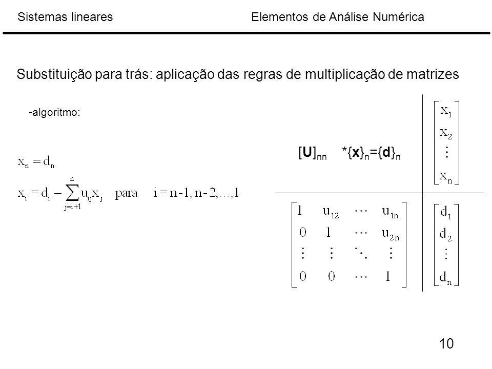 Substituição para trás: aplicação das regras de multiplicação de matrizes