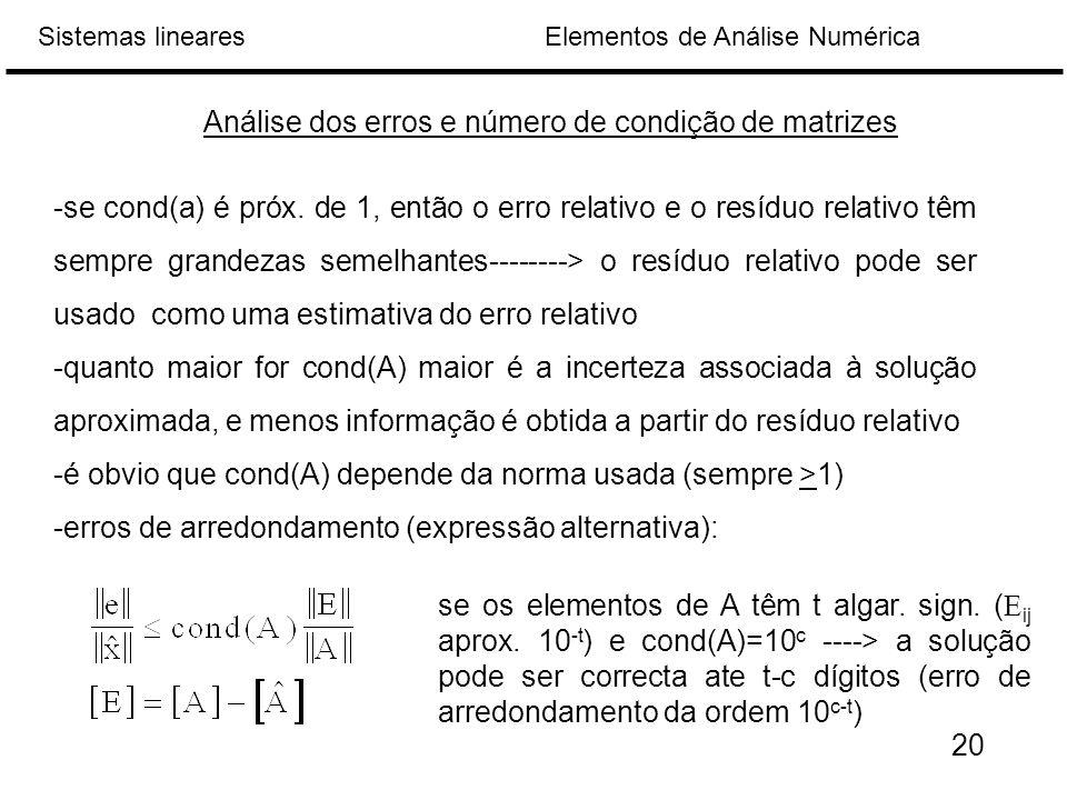 Análise dos erros e número de condição de matrizes