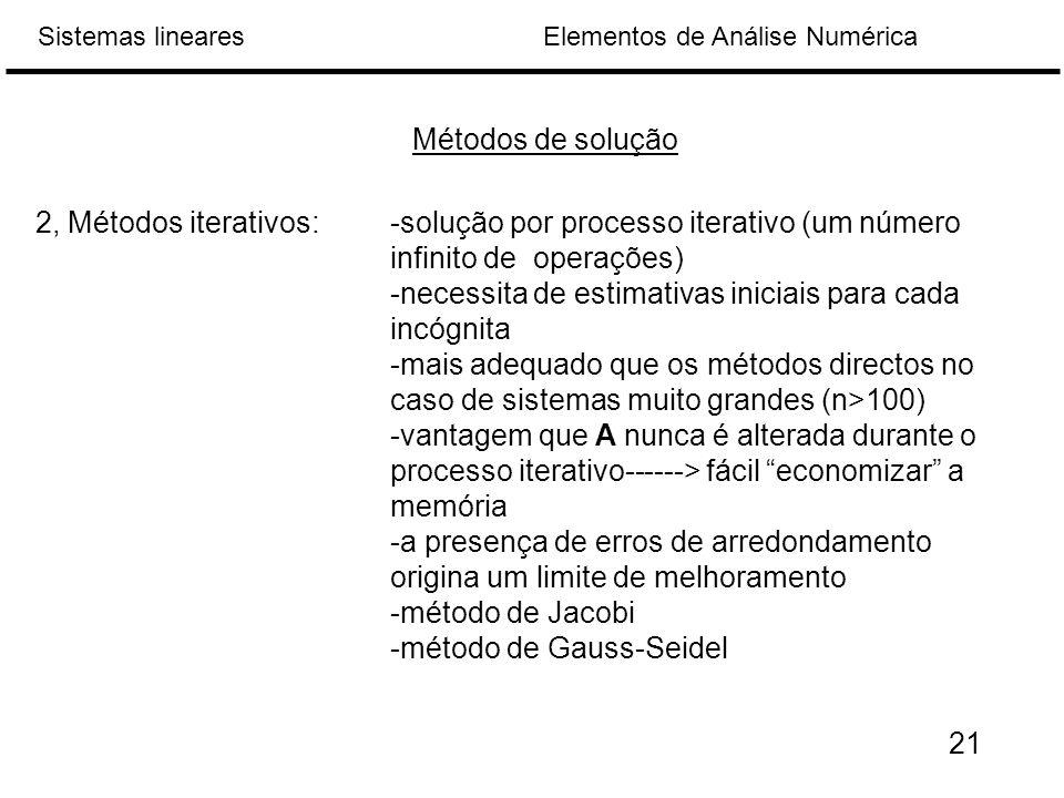 Métodos de solução 2, Métodos iterativos: -solução por processo iterativo (um número infinito de operações)