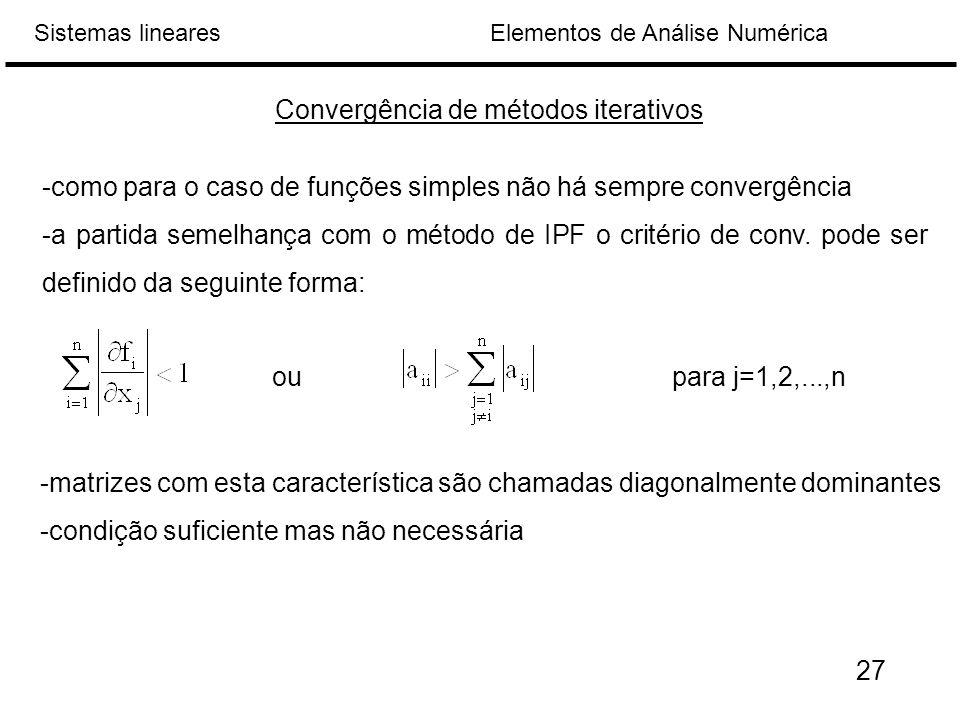 Convergência de métodos iterativos