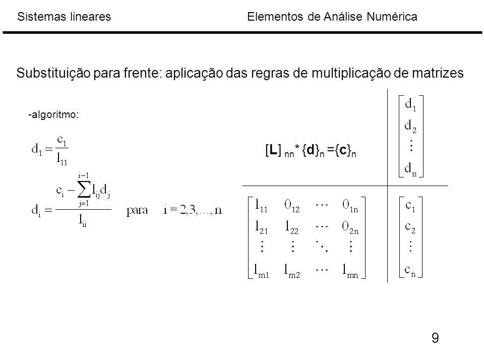 Substituição para frente: aplicação das regras de multiplicação de matrizes