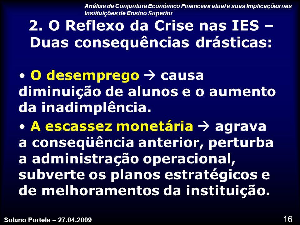 2. O Reflexo da Crise nas IES – Duas consequências drásticas: