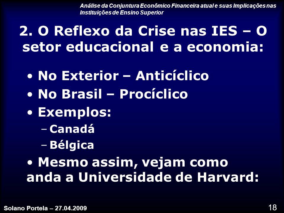 2. O Reflexo da Crise nas IES – O setor educacional e a economia: