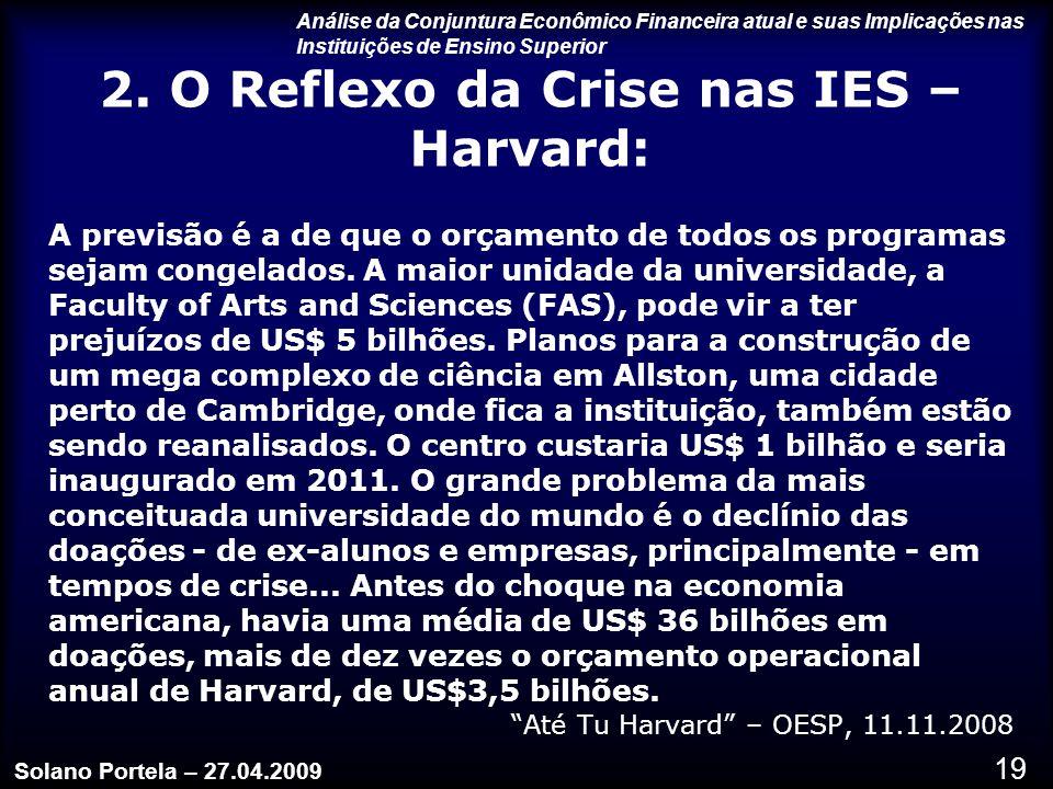 2. O Reflexo da Crise nas IES – Harvard: