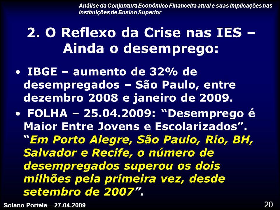 2. O Reflexo da Crise nas IES – Ainda o desemprego:
