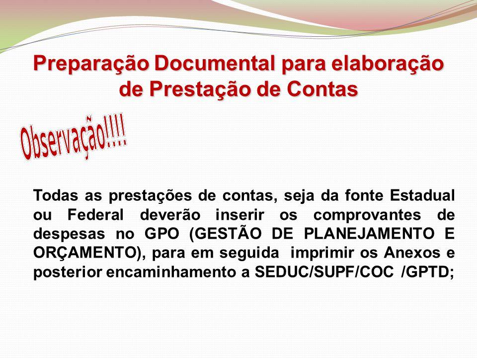 Preparação Documental para elaboração de Prestação de Contas
