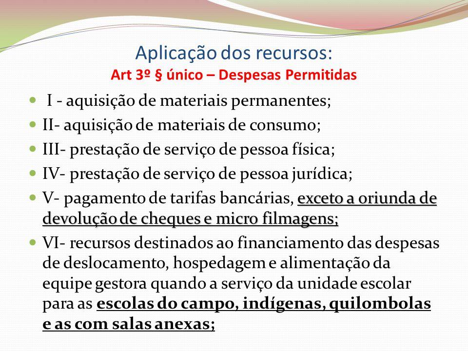 Aplicação dos recursos: Art 3º § único – Despesas Permitidas