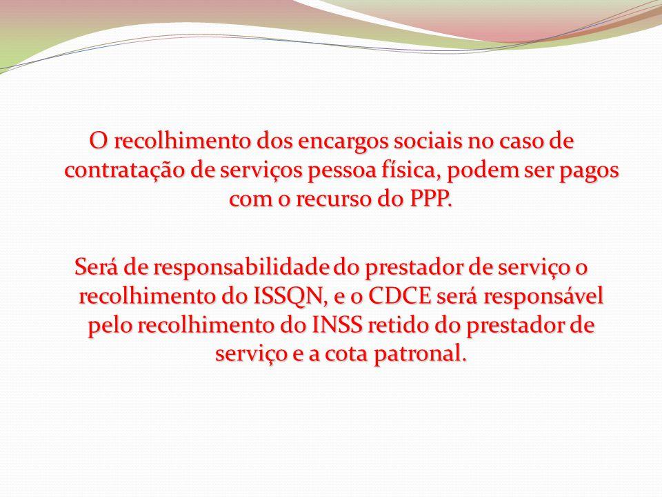 O recolhimento dos encargos sociais no caso de contratação de serviços pessoa física, podem ser pagos com o recurso do PPP.