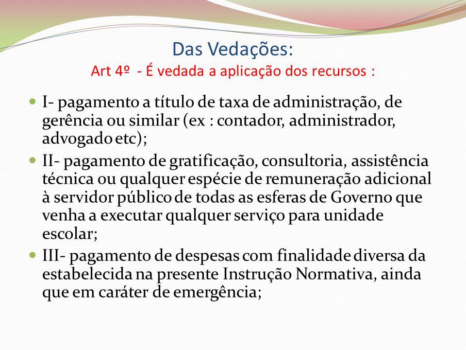 Das Vedações: Art 4º - É vedada a aplicação dos recursos :