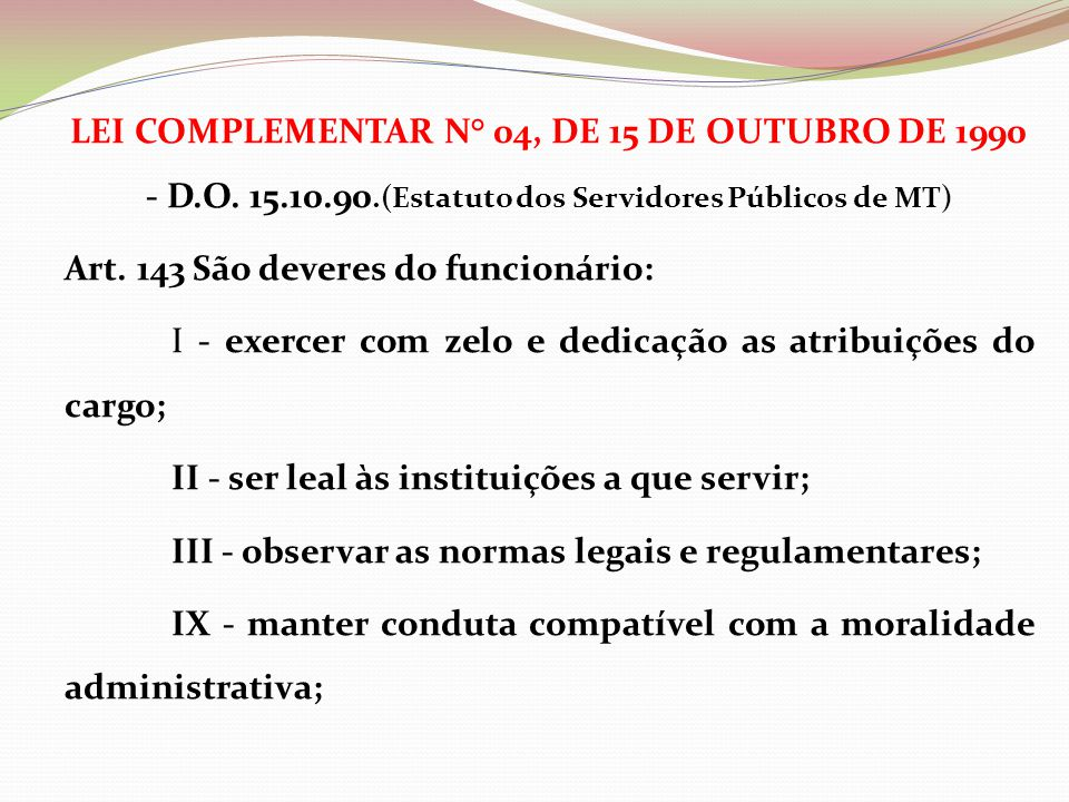 LEI COMPLEMENTAR N° 04, DE 15 DE OUTUBRO DE 1990 - D. O. 15. 10. 90