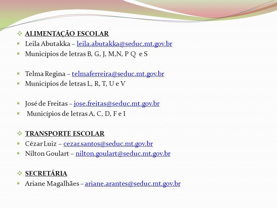 ALIMENTAÇÃO ESCOLAR Leila Abutakka – leila.abutakka@seduc.mt.gov.br. Municípios de letras B, G, J, M,N, P Q e S.