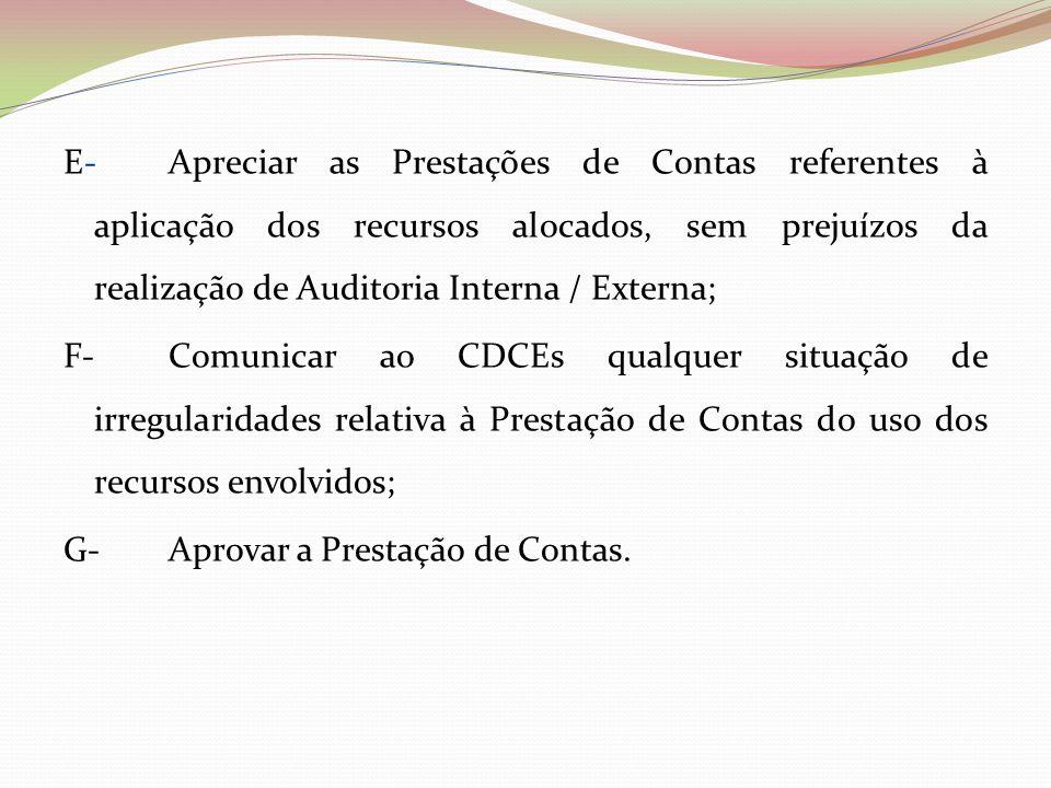 E- Apreciar as Prestações de Contas referentes à aplicação dos recursos alocados, sem prejuízos da realização de Auditoria Interna / Externa;