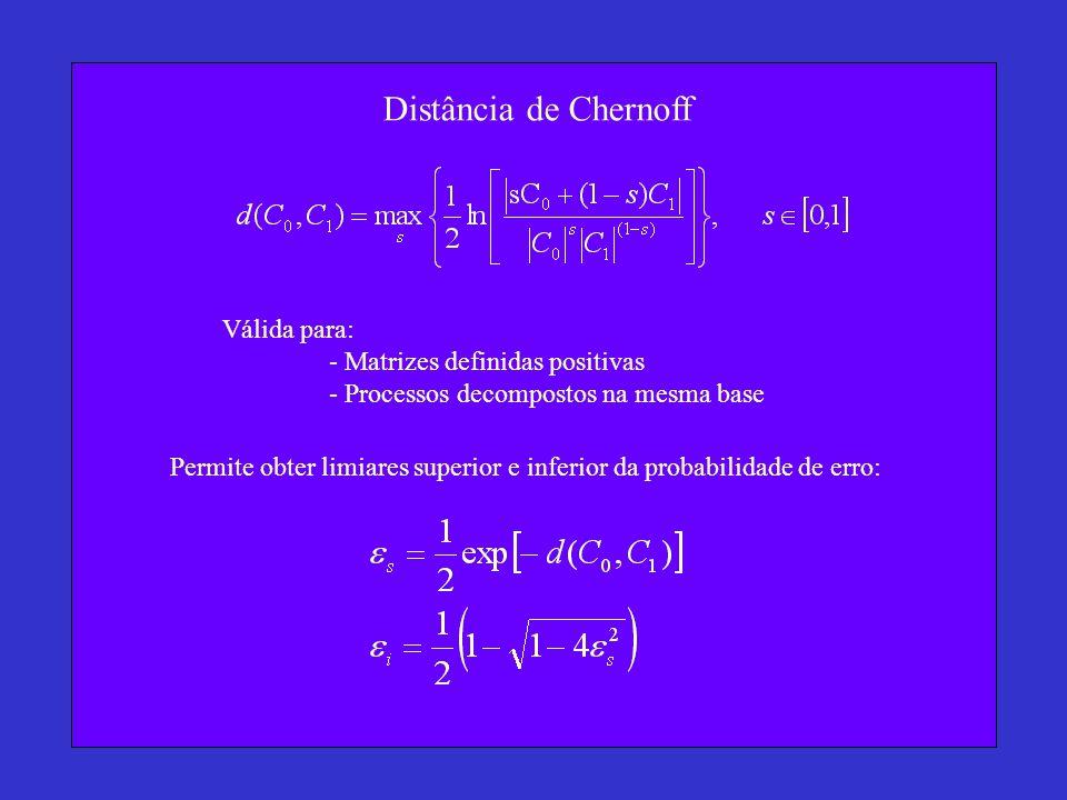 Distância de Chernoff Válida para: - Matrizes definidas positivas