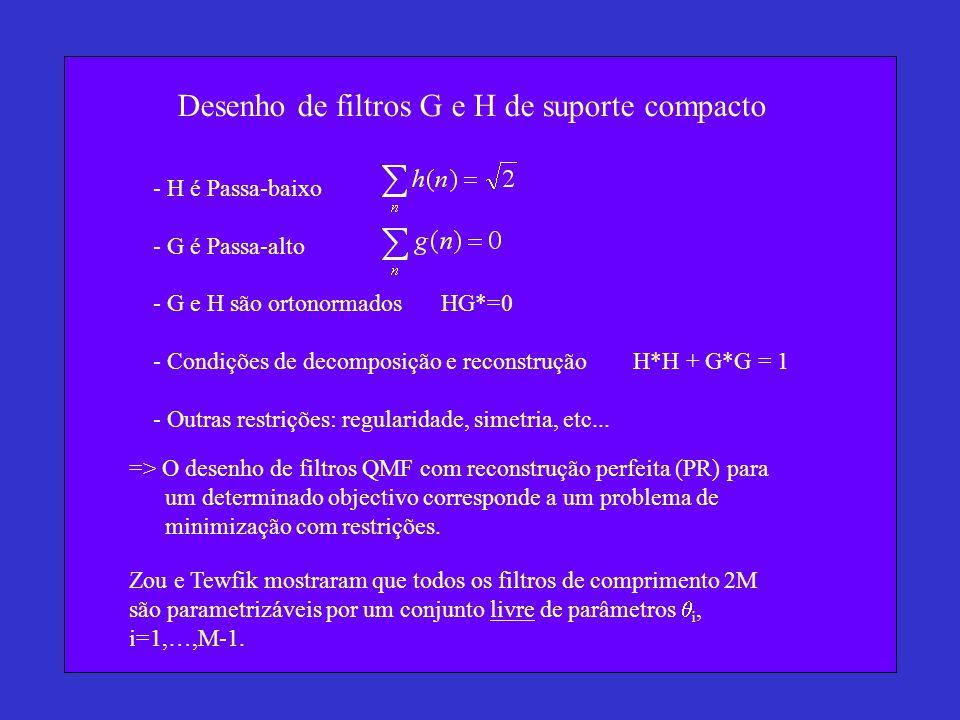 Desenho de filtros G e H de suporte compacto