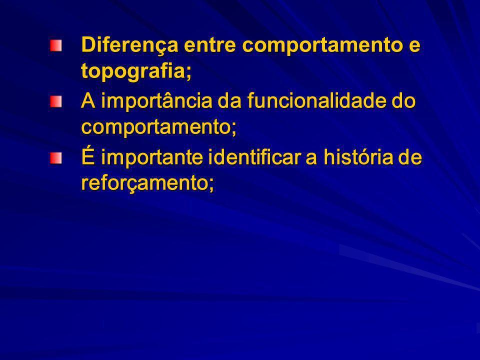 Diferença entre comportamento e topografia;